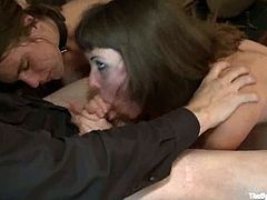 Sexy girls get tied up and whipped in public. Later on they suck big hard dicks and get their pussies drilled.