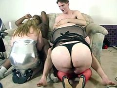Press play on this video where these horny guys pound two BBW ladies craving big hard cocks while the camera films them.