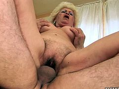 Granny felt too horny today so she rided a large cock