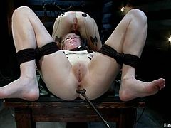 Two blonde girls get tied up and hot by electricity. These chick also lick each others soaking pussies and get toyed with electro strap-on by Bobbi Starr.