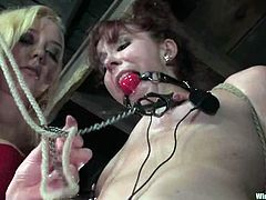 Slim brown-haired girl gets gagged and tied up. In addition she gets her tits stimulated with electricity. Later on she also gets her pussy toyed with a strap-on.
