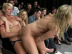 Nasty blonde girls in bikini fight in a ring and then have wild lesbian sex. They sit on each others faces and toy pussies with different sex toys.