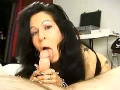 This busty mature was cock hungry and she wake up her husband just to give him great blowjob. All she want is get his warm semen in mouth