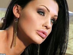Aletta Ocean with huge tits cant live a day without taking dildo in her pussy