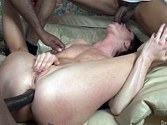 This video has some downright nasty DP action for this horny MILF as she goes about getting destroyed by some black cock.