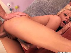 At the backyard, pretty blonde chick Chase Taylor strip and caress her pussylips. Then she head inside her room to have taste of her man's already hard dong. Making it sloppy and wet from a blowjob before having it deep in her muff.
