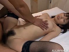 Slim, fragile and with a very pretty face, this Japanese babe makes her man wanna cum inside her. She's a beauty and deserves to be cum filled! The guy bends her over and fucks her ass from behind, before they change position, and she lays on her back. After a few more strikes he cums in her, filling her pussy.