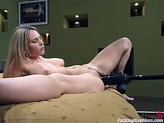 Cute blonde Harmony is having fun in the bedroom. She shows her nice body for the cam and then gets her coochie slammed by a sex machine.