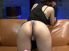 Tiara Ayase is wearing kinky outfit looking sexy and hot. The guy behind the camera puts her panties aside and stretches her butt cheeks wide apart. He exposes her privates in closeup shot. Later on he toy fucks her intensively.