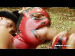 Nikky Rider is fucked hard by a clown and magician in MMF threesome