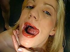 Perky tits blonde enjoys feeling warm cum dripping over her soft lips