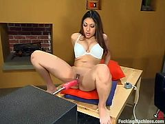 Gorgeous cutie Nautica Thorn is playing dirty games alone. She shows off her awesome body and then gets her delicious pussy drilled by the sex device.