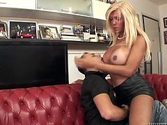 Stylish blonde tranny Pamela wants to get her delicious cock sucked! For that she has her slutty gay bf, that's already drooling for her. The blonde gives him her boobs for some licking and then, feds him with her delicious dick. He enjoys every inch of cock and makes Pamela wanna fill his mouth with her jizz.