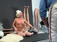 Backstage video of cute busty blondie Silvia rubbing her coochie