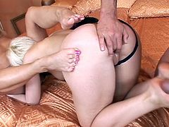 Blonde beauties are having a great time by sucking and fucking the same dick