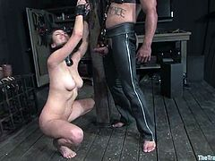 This amazing honey with some sassy shapes Princess Donna Dolore is going to be painsulted. She gets to suck that huge cock and then fucked in bondage!