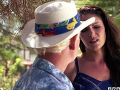 The hot brunette is married with an old fart and she wants a hunk to satisfies her sex drive. She's in a safari trip and finds the muscled guy Johnny. Johnny is all she can dream so soon the bitch leaves her man to have some fun with this younger dude. He licks her pussy and thus her real adventure begins