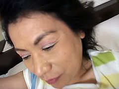 Check out this horny Japanese mature getting prepared for some serious hardcore fucking. She makes his cock hard as a rock and takes it into her old hairy cunt.