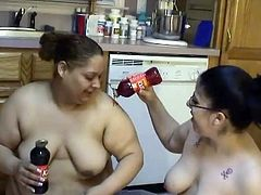 Fat ass bitches are playing nasty games in the kitchen. They get messy in sticky syrup and oily soy sauce. Enjoy watching messy scene featuring two curvy lesbian hookers.