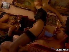 Look at this two hot chicks with attractive humps, dude! This two mans fuck them in all their holes. Have a look at this orgy in steamy Private xxx video!