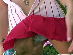 Spunked curvy blond-haired slut gives magic blowjob to her mate outside in the yard. Her tongue slides his balls and penis.He puts some cream on it and she swallows it totally deepthroat. See it in Team Skeet porn clip!