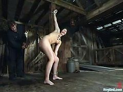 Sexy brown-haired babe gets tied up in a wooden barn. Later on she gets her tits clothespinned and pussy toyed with two dildos at the same time.