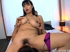 She's busty and knows how to please a man! Hana likes to sit on top regardless if she rub cock with her delicious breasts or with her pussy. Look at her how lustfully she give this dude a titjob, sucks his cock ad then grinds her pussy on his face. The hot mommy deserves loads of cum on her boobs and face!