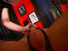 Mistress loves spanking her slaves to fuck each other in this hot bondage tube video.