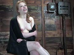 Nice redhead girl Madison Young is having fun with Sgt. Major indoors. She lets the man bind and suspend her and then gets her cunt rubbed with a vibrator.