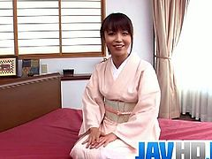 Hot Japanese milf named Marika is always ready for hardcore threesome action. She got her tight pussy stretched, while deepthroating another dong and took a huge creampie.