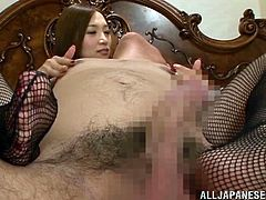 She is circling around that huge cock! She keeps sucking and tugging it till it gets so hard. Then babe rides that man! Asami is so hot!