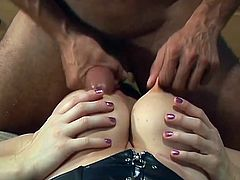 Curvy brunette bitch is playing dirty games with two bisexual studs. She pleases the guys with a great blowjob and then watches them smashing each other's butts.