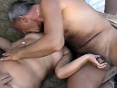 Short haired fat granny enjoys MMF threesome with two old dudes