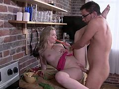 Kirsten Price and Kris Slater were close to set their kitchen on fire, but they were way hotter for each other. Kris pounds that pussy hard.