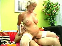 Salacious blonde granny Francesca pleases some stud with a blowjob and a titjob and allows him to play with her hairy snatch. Then they fuck in the reverse cowgirl and other positions and Francesca's big natural tits bounce crazily.