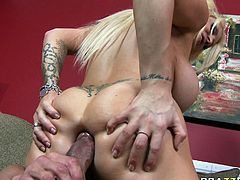 Tight asshole of full figured blonde hooker Candy Mason gets eaten by Tommy Gunn. Candy spreads her giant booty and rides big dick taking it up her butthole balls deep.