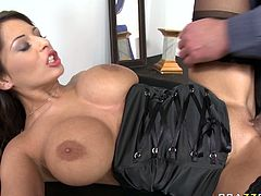 Watch this kinky Alison Star getting fucked in her wet and tight pussy while her girlfriends watch her in Brazzers Network sex clips.