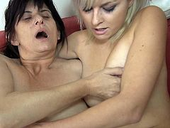 Thick big boobed granny in glasses still rocks the show. Flabby black haired bitch finger fucks her blonde girlfriend's tight cunt and gets her hole stroked as well.