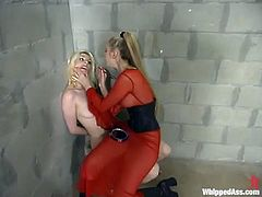 Wicked blonde mistress in red dress does some nasty things with her sex slave. Cowgirl gets whipped and toyed in her prison ward. After that the mistress gets her pussy toyed and licked.