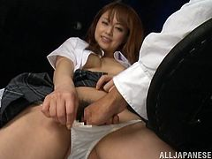 Amazingly hot Akiho Yoshizaw shows her nice titties and then gives unforgettable blowjob in POV video. Then she lifts the skirt up and gets fucked. The guy also cums on her pretty face.