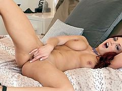 Beautiful Jayden Cole moans of pleasure while gently rubbing her cramped pussy