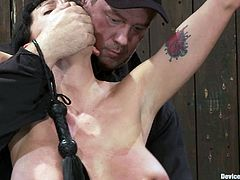 Kinky Alia Janine gets tied up and choked. Later on she tits massaged and pussy toyed with black vibrator.