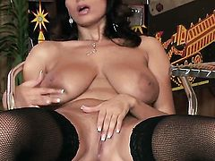 Sensual Jane with big tits and smooth pussy inserts sex toy so deep in her bush