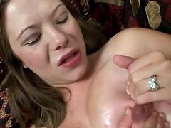 Sizzling pregnant blonde Brooklyn Night is having fun with two dudes in a bedroom. She allows the studs to fuck her mouth and vag by turns and enjoys cum on her face afterwards.