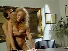 Nasty curly blonde hooker gets banged by her boss missionary style on his desk. Curvy bitch gets on the floor and sends her cunt for a doggystyle pounding.