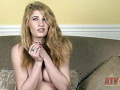 Blonde Allie James parts her legs on cam and feels no shame