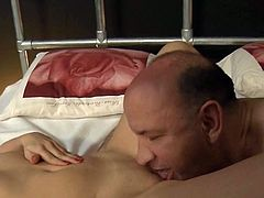 Sarah Palmer wakes up side by side with an old man that she doesn't know. She gets scared at first, but then she ends up getting fucked by him and tasting his cum.
