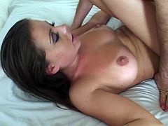 Lusty brunette hoe with natural tits is getting pounded bad in her twat in a missionary position. She then stands on her all four fucking hard doggy style.