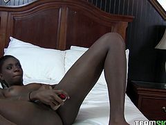 This chocolate whore knows how to bring some pleasure alone. Today she has chosen her favorite sex toy and wants to reach swet orgasms.