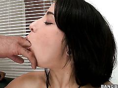 Nina Lopez with big ass satisfies her sexual desires with dudes pole in her mouth